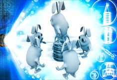3d penguin itching head and thinking illustration Royalty Free Stock Photo