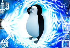 3d penguin itching head and thinking illustration Stock Images