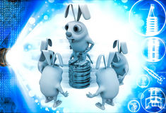 3d penguin itching head and thinking illustration Royalty Free Stock Photography
