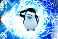 3d penguin itching head and thinking illustration Stock Image