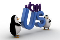 3d penguin with join us text concept Stock Photos