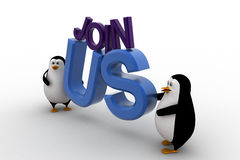 3d penguin with join us text concept Stock Photo
