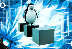3d penguin jumping on one cube to another cube illustration Stock Images