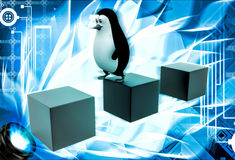 3d penguin jumping on one cube to another cube illustration Royalty Free Stock Photography