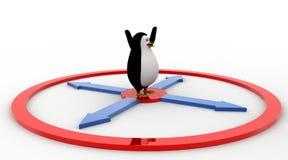 3d penguin jumping toward mirror concept Royalty Free Stock Image