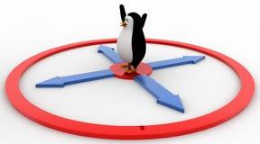 3d penguin jumping toward mirror concept Royalty Free Stock Photography