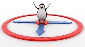 3d penguin jumping toward mirror concept Stock Photography