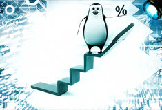 3d penguin on ladder with arrow showing progress illustration Royalty Free Stock Images