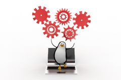3d penguin with laptop settings illustration Royalty Free Stock Photos