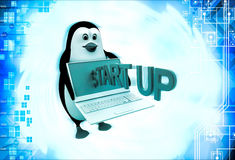 3d penguin with laptop and start up illustration Stock Photos