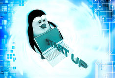 3d penguin with laptop and start up illustration Royalty Free Stock Photo