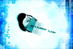 3d penguin with laptop and start up illustration Royalty Free Stock Photos