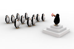 3d penguin leader giving speech to group of penguins concept Royalty Free Stock Image