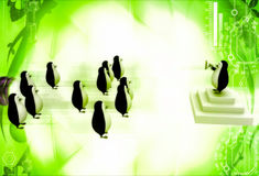 3d penguin leader giving speech to group of penguins illustratio Stock Photos