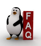 3d penguin leaning on FAQ cubes concept Royalty Free Stock Images