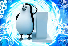 3d penguin leaning on pillar illustration Royalty Free Stock Photography