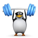 3d Penguin lifts weights above his head Royalty Free Stock Image