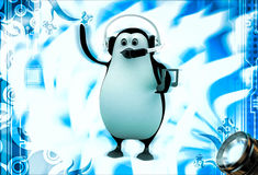 3d penguin listening music on headphone illustration Stock Photography