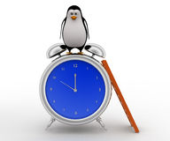 3d penguin lokking down while standing on top of big alarm clock concept Stock Photos