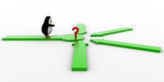 3d penguin looking at question mark where all arrows are pointing concept Royalty Free Stock Photos