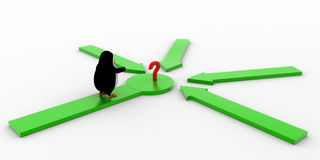 3d penguin looking at question mark where all arrows are pointing concept Stock Photography