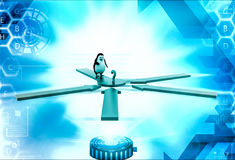 3d penguin looking at question mark where all arrows are pointing illustration Stock Photos