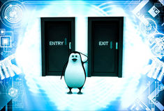 3d penguin looks confused in front of entry and exit doors illustration Royalty Free Stock Images