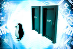 3d penguin looks confused in front of entry and exit doors illustration Royalty Free Stock Photos