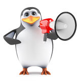 3d Penguin loudhailer Stock Photos