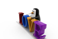 3d penguin with love concept Royalty Free Stock Image