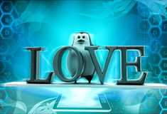 3d penguin with love text concept Royalty Free Stock Photo