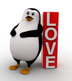 3d penguin lying to red blocks containing love text Stock Image