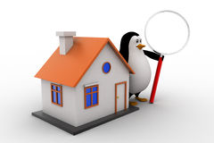 3d penguin with magnifying glass and small house model concept Stock Photo