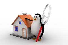 3d penguin with magnifying glass and small house model concept Royalty Free Stock Image
