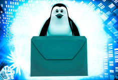 3d penguin with mail message illustration Stock Photo