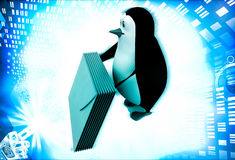3d penguin with mail message illustration Royalty Free Stock Images