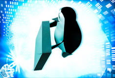 3d penguin with mail message illustration Royalty Free Stock Image