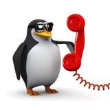 3d Penguin makes a phone call Stock Photo