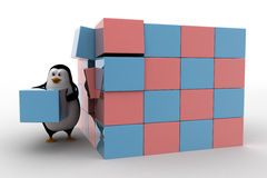 3d penguin making big cube from small pink and blue cubes concept Stock Photos