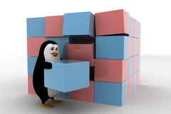 3d penguin making big cube from small pink and blue cubes concept Royalty Free Stock Image
