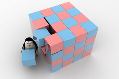 3d penguin making big cube from small pink and blue cubes concept Stock Image