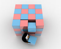 3d penguin making big cube from small pink and blue cubes concept Royalty Free Stock Images