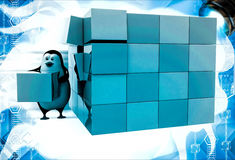 3d penguin making big cube from small pink and blue cubes illustration Royalty Free Stock Image