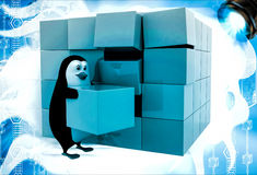 3d penguin making big cube from small pink and blue cubes illustration Royalty Free Stock Images