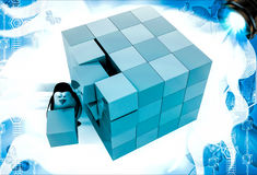 3d penguin making big cube from small pink and blue cubes illustration Stock Image
