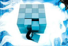 3d penguin making big cube from small pink and blue cubes illustration Royalty Free Stock Photography