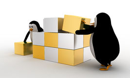 3d penguin making big cube from small silver and golden cubes concept Royalty Free Stock Photos