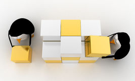3d penguin making big cube from small silver and golden cubes concept Royalty Free Stock Photo