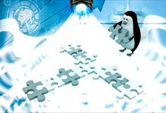3d penguin making cross path using blue and abstract puzzle piece illustration Royalty Free Stock Photo