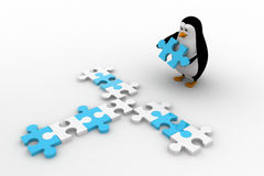 3d penguin making cross path using blue and white puzzle piece concept Royalty Free Stock Image